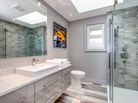 Bathroom Renovation  with Glass Shower Doors Burlington Oakville