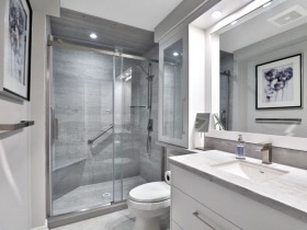Glass Door Bathroom Renovation Burlington Oakville