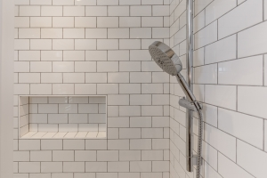 Shower Stall white tile with shelf